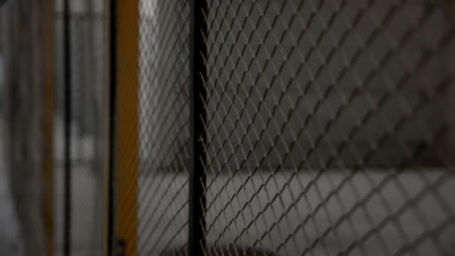 wire fence. closeup of steel net - filo metallico video stock e b–roll