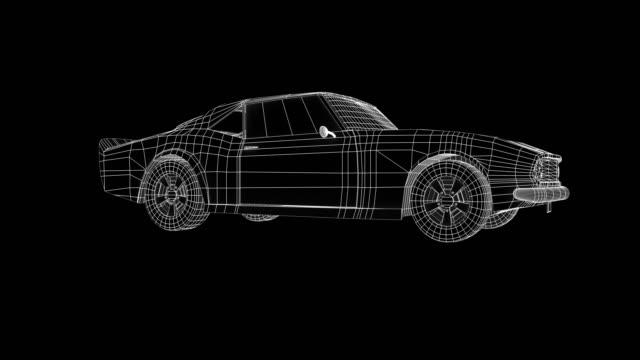 Wire frame car concept blueprint