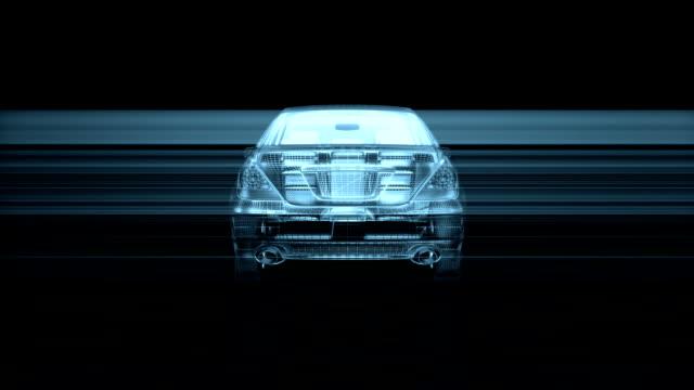 wire frame car rotating, loop - wheel black background bildbanksvideor och videomaterial från bakom kulisserna