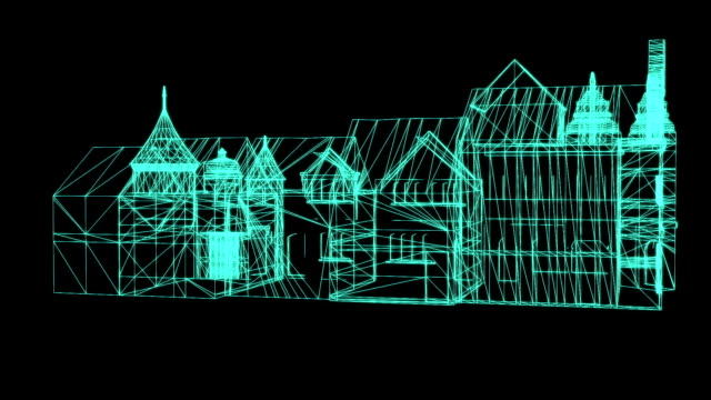 Wire Frame Model Of medieval House  on black background - 3D Rendering.