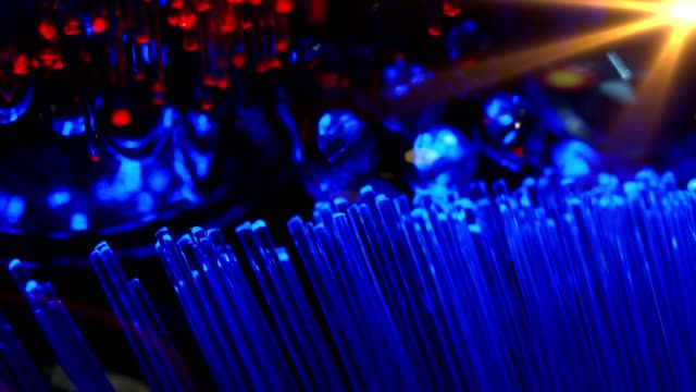 Wire Internet technology fiber optic connection concept blue red light