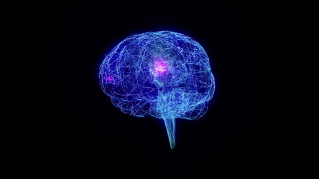 Wired human brain with electric impulses. Synapsis. Loopable. Biology Background. video