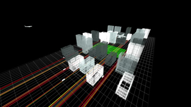 Wireframe 3d City video
