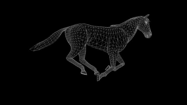 Wireframe 3d horse running, seamless loop, against black Wireframe 3d horse running, seamless loop, against black mustang wild horse stock videos & royalty-free footage