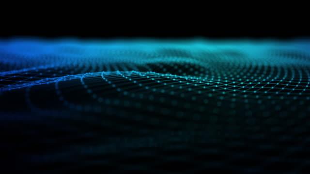線を移動すると 3 d のワイヤ フレーム抽象背景のアニメーション - 文字記号点の映像素材/bロール