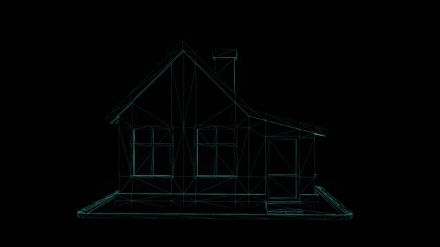 Wireframe house isolated on a black background. 3D render rotating seamless loop animation Wireframe house isolated on a black background. 3D render rotating seamless loop animation wire frame model stock videos & royalty-free footage