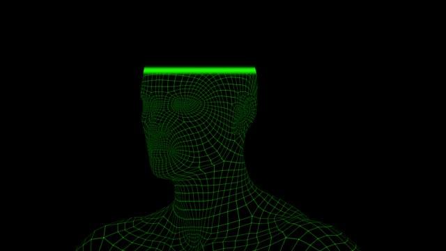 ワイヤ フレーム頭部レーザー光でスキャンされています。 - 医療用スキャン点の映像素材/bロール