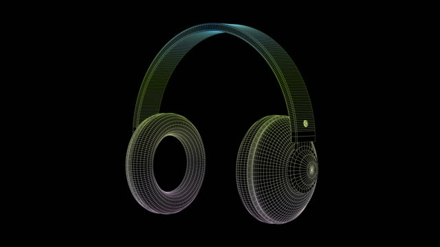 3D wire-frame model of big headphones 3D wire-frame model of big headphones on black background wire frame model stock videos & royalty-free footage