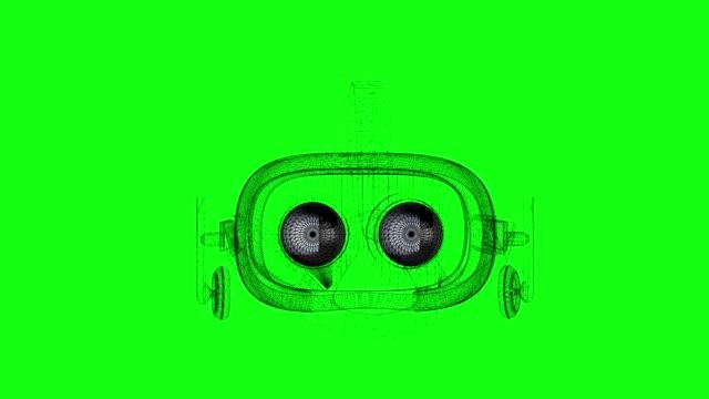 Filaire 3D modèle de boucle de casque de réalité virtuelle rotation sur fond de chromakey vert - Vidéo