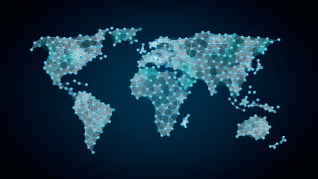 Wireless communication icon, makes global world map, internet of things. financial technology. video