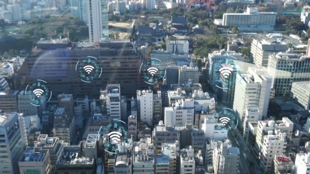 仕事を一緒に接続するための無線技術コンセプト - センサー点の映像素材/bロール