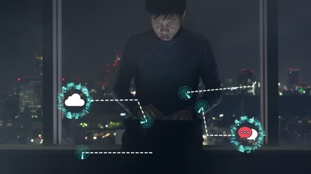 仕事を一緒に接続するための無線技術コンセプト - モノのインターネット点の映像素材/bロール