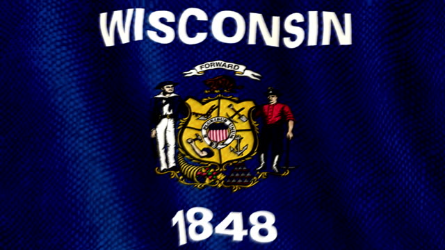 Wisconsin flag waving animation video
