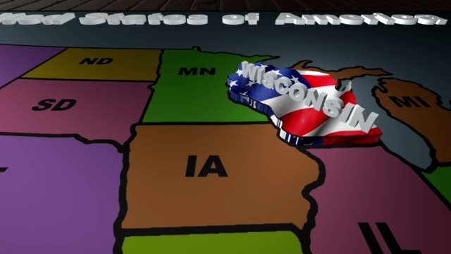 Wisconsin pull out from USA states abbreviations map video
