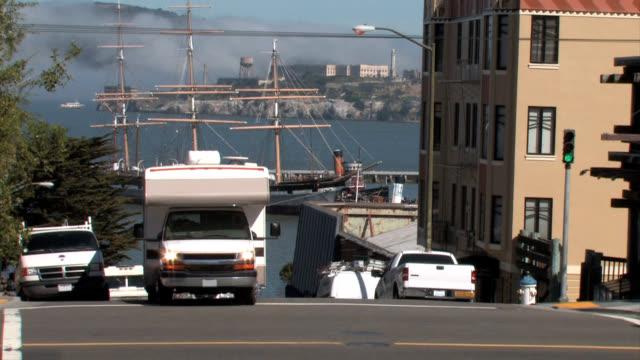 RV with Alcatraz Island in Background video