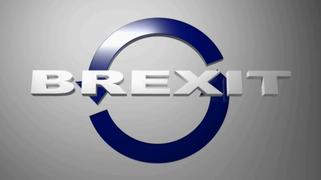 BREXIT with blue rotating arrows - 3D rendering video clip