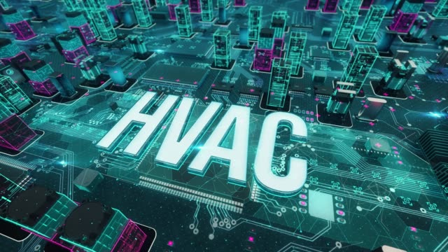 hvac with digital technology concept - sztuka i rzemiosło wytworzony przedmiot filmów i materiałów b-roll