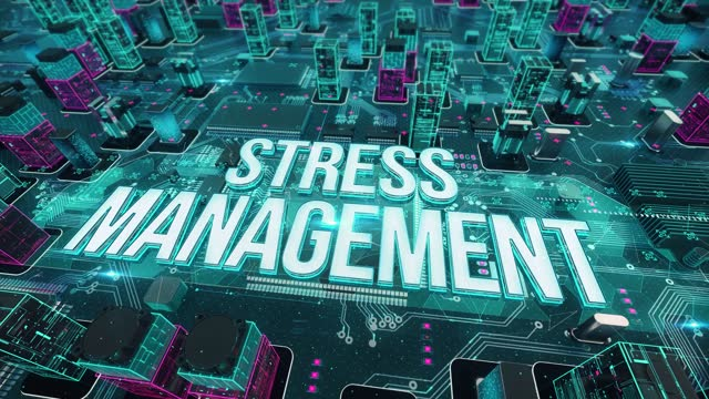 STRESS MANAGEMENT with digital technology concept