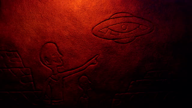 UFO With People Pointing Ancient Rock Carving video