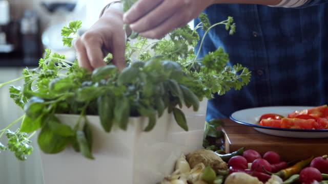 vidéos et rushes de femme en ajoutant les feuilles de basilic à tranches de tomates dans cuisine - plante aromatique