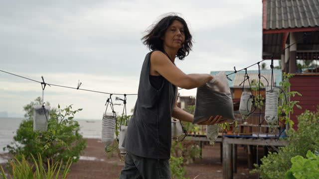 Woman adding organic vermicompost to tomato plants in recycled plastic bottles