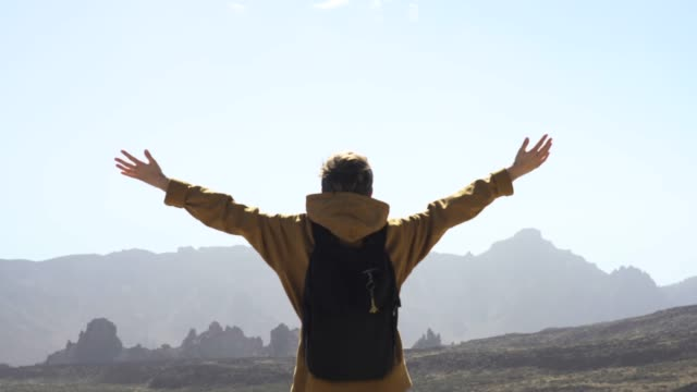 Woman admiring volcanic landscape of Tenerife. Open arms