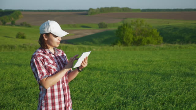 Woman agronomist in the field with a digital tablet A young woman agronomist wearing a white cap in a barley field in spring uses a digital tablet. The camera in slow motion flies farmer around agricultural occupation stock videos & royalty-free footage