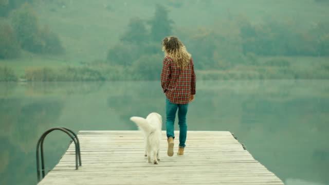vídeos y material grabado en eventos de stock de mujer y perro caminando en el muelle en el lago - embarcadero