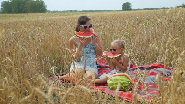 Woman and her Daughter Having Picnic in a Field Little Girl and her Mother Eating Watermelon in a Wheat Field in Autumn Day. Slow Motion. Family, Leisure and People Concept watermelon stock videos & royalty-free footage