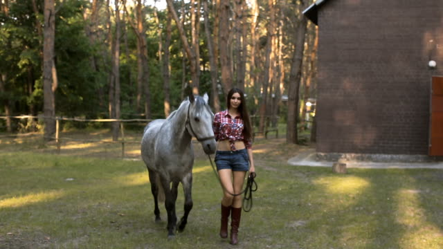 Woman and Horse. Casual Sexy Style