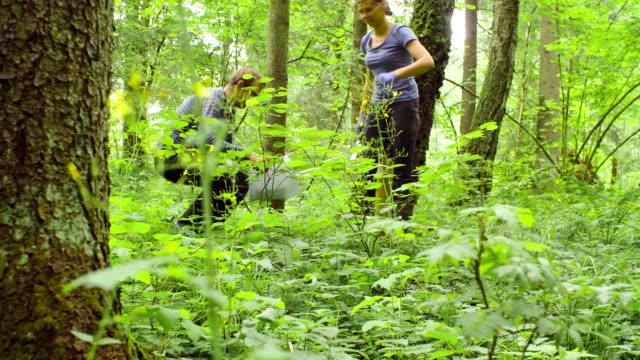 vídeos y material grabado en eventos de stock de hombre y mujer ecologistas tomar muestras de un suelo - botánica