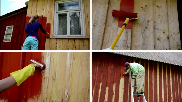 Woman and man on ladder paint wooden house. Video collage video