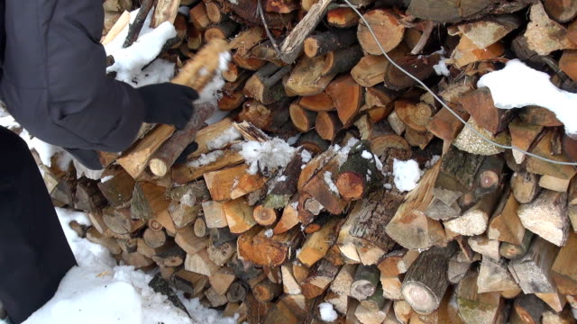 Woman arrange wood chips for winter time