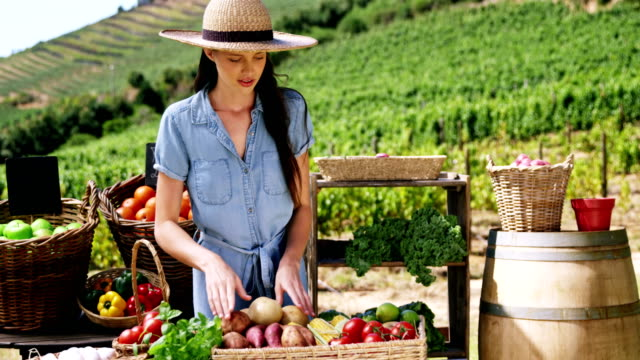 woman arranging fresh vegetables in basket at farm - agricoltrice video stock e b–roll