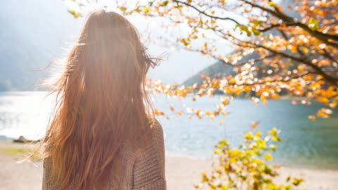 vídeos de stock e filmes b-roll de woman at lakeside in autumn looking in the distance - cabelo