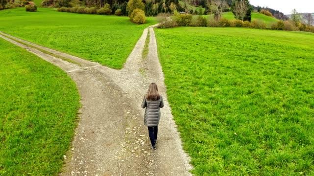 Woman at the crossroad. Symbol of choice.