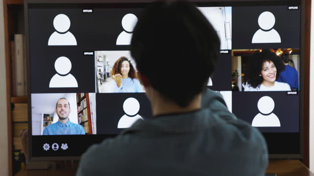 Woman at work in video conference from home video
