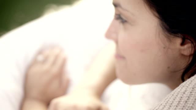 Woman awakening on lake video