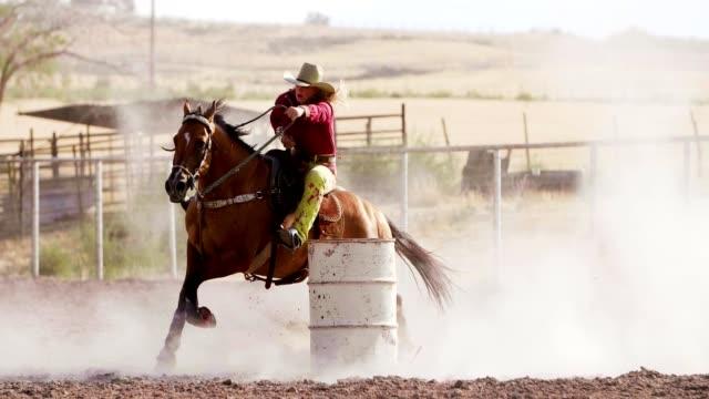 Woman Barrel racing at rodeo.