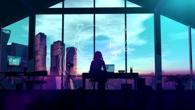 Woman blogger behind the laptop at home Silhouette woman working at home with a laptop surrounded by infographics. home icon stock videos & royalty-free footage