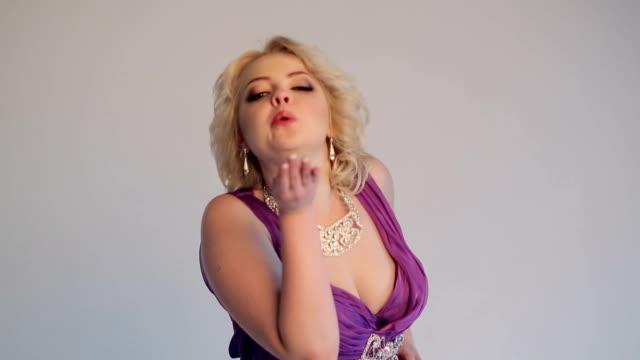 woman blonde posing - cleavage stock videos & royalty-free footage