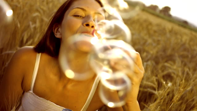 Woman Blowing Bubbles video