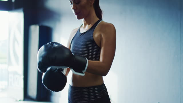 Woman Boxing in the Gym video