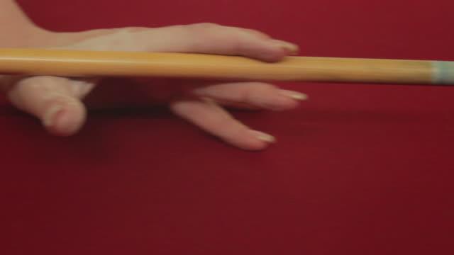Woman Breaks Pool Balls Dolly to Balls video