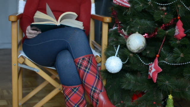 Woman Browsing a Book by Christmas Tree video