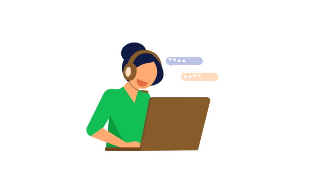 woman call center, contact center using headset Online Shopping animation, cartoon woman call center, contact center using headset.on a white background with alpha matte. office illustrations videos stock videos & royalty-free footage
