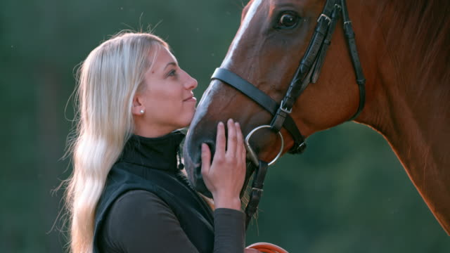 SLO MO Woman caressing her horse's nose