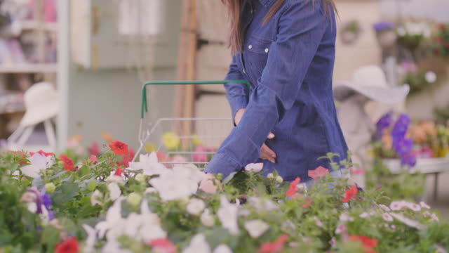 Woman carrying shopping basket while choosing flower pots at shop