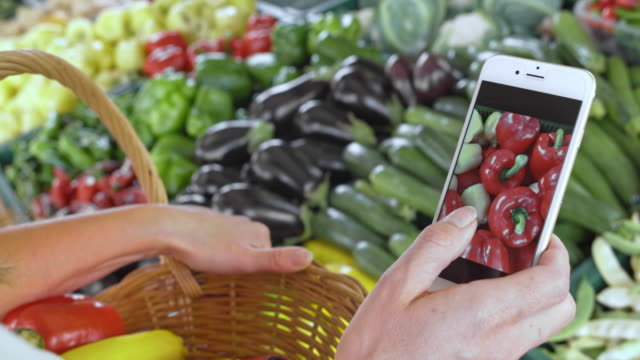 Woman checking types of produce on her phone standing by the marketstall video