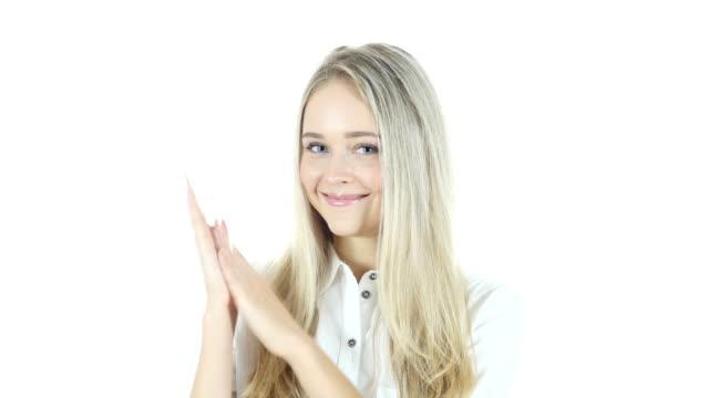 Frau klatschenden, weißer Hintergrund – Video